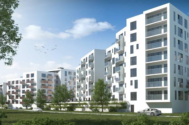 Sådan kommer de nye lejligheder på Odense Havn til at se ud (illustration: Dades).