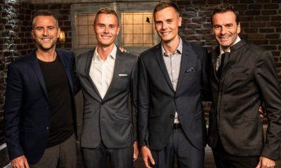 Jacob Risgaard og Jesper Buch sammen med drengene fra Dit Ur