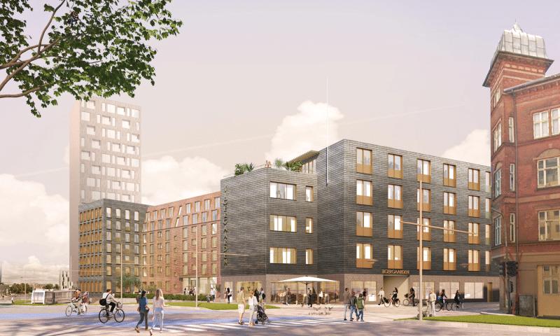 De gamle erhvervsbygninger i Odense centrum har de seneste år gennemgået en stor forvandling. Alt indmad, facade, tag og vinduer er udskiftet, og til sommer står det hele færdigt. Illustration: Go'Bolig